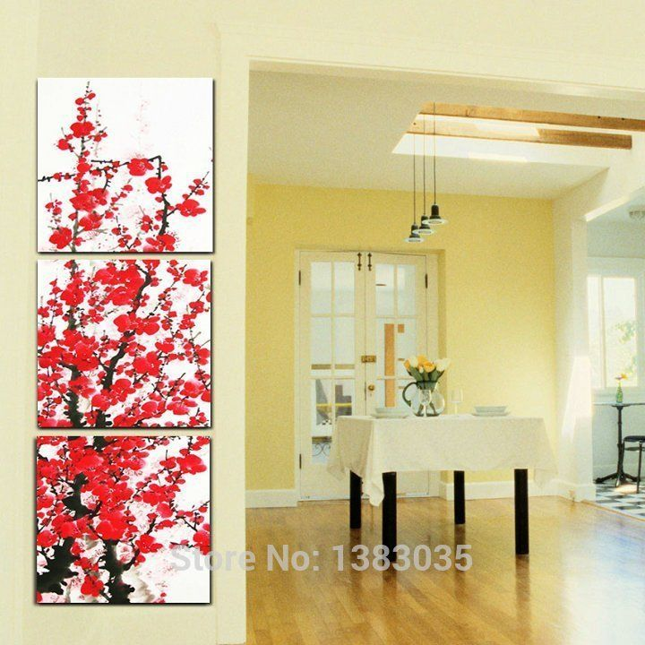 Hand Painted 3 Piece Red Flowers Wall Art Abstract Oil Painting On ...
