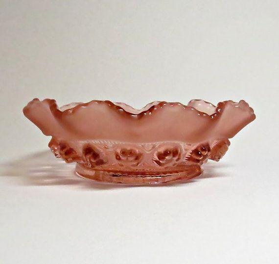 Salmon Pink Blackberry Prunt Bowl - Vintage - Art Deco Glass Bowl - George Davidson - 1930s Depression Glass - Salmon Pink Glass Dish/Bowl