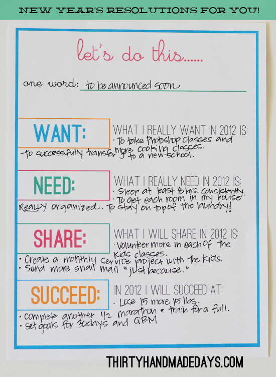 New Years Resolution Free Printable Year resolutions