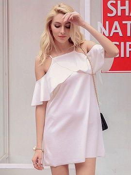 Shop White Cold Shoulder Ruffle Cross Wrap Detail Cami Shift Dress from choies.com .Free shipping Worldwide.$17.9