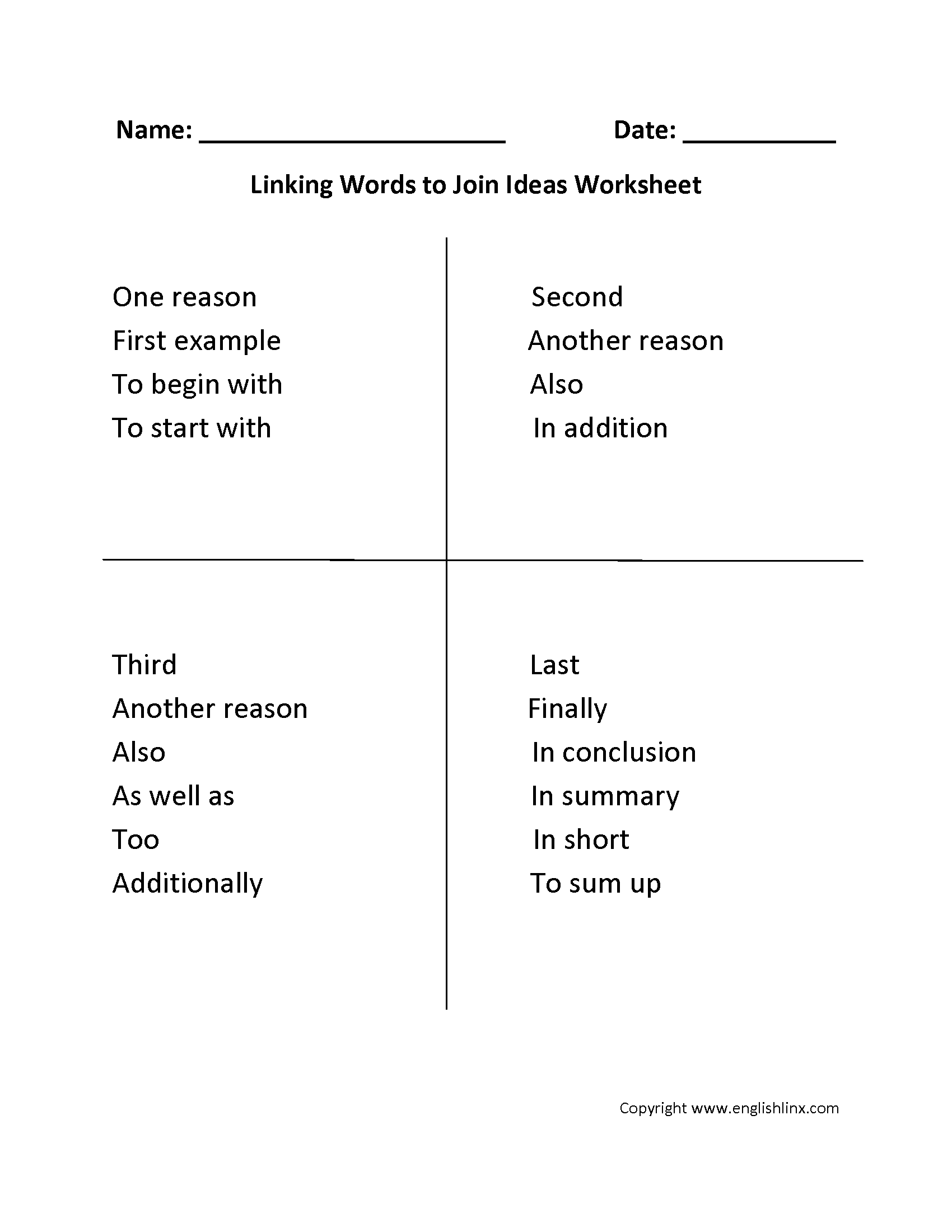 Writing Worksheets Education