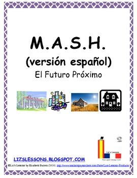 $ Remember playing MASH when you are in school? Have your students play in Spanish in order to practice the near future tense, profession, residence, and transportation vocabulary.
