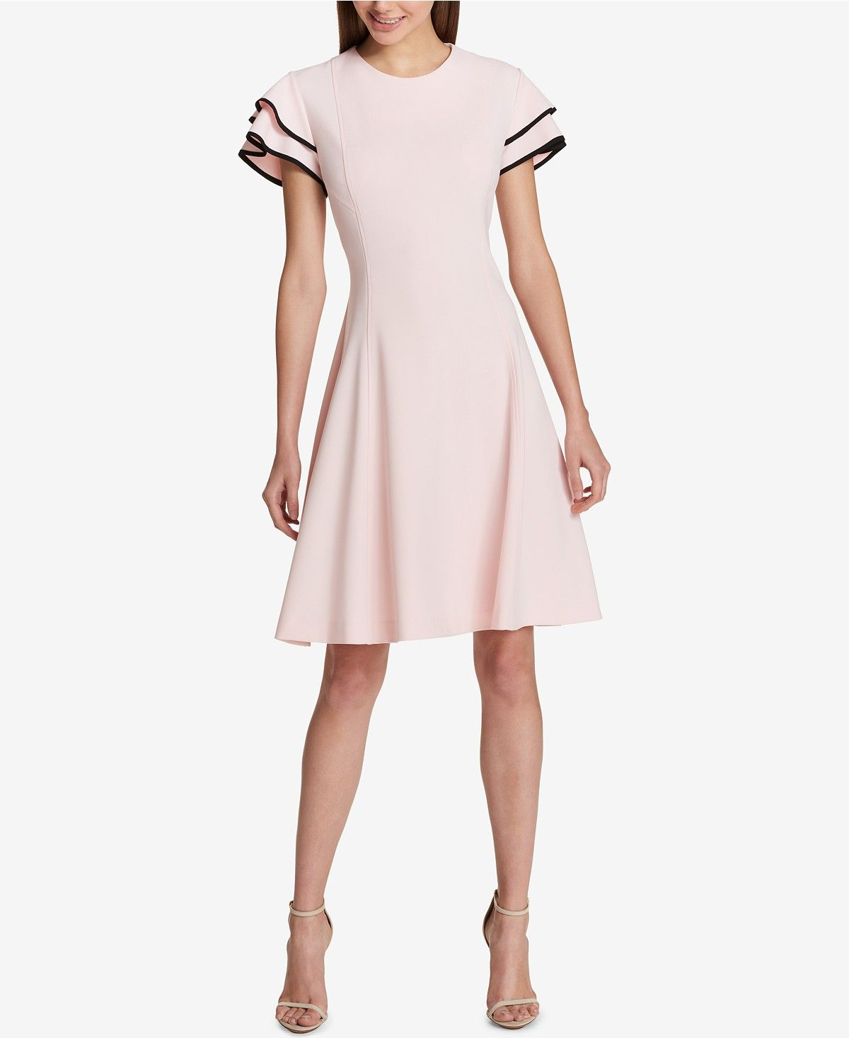 8e46a1ca1 Tommy Hilfiger Flutter-Sleeve Fit & Flare Dress - Dresses - Women - Macy's
