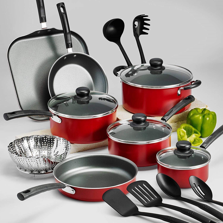 Tramontina Primaware 18piece Nonstick Cookware Set Red Kitchen
