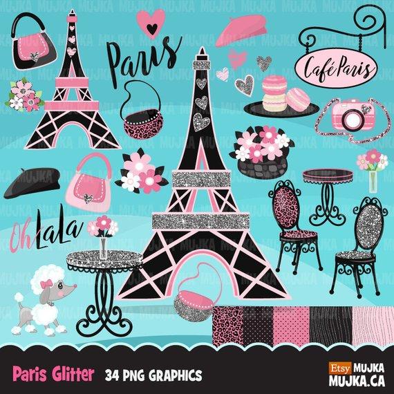 a531e1c51a Paris clipart. Glitter pink Paris background