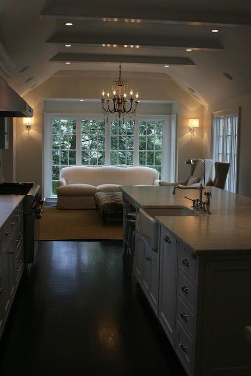 Suzie: West End Cabinet Company - Beautiful kitchen with vaulted ceiling, glossy white box ... #vaultedceilingdecor