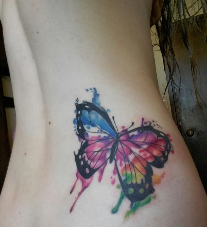 My First Tattoo Messy Watercolor Butterfly Done By Matt Wilson At Fine Line Dunedin New Zealand Watercolor Butterfly Tattoo Butterfly Tattoo Tattoo Pattern