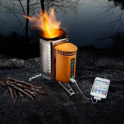Now this is a cool camp stove. It uses the heat from the fire to charge your electronic device. Thing GPS, phone, radio.   BioLite CampStove.