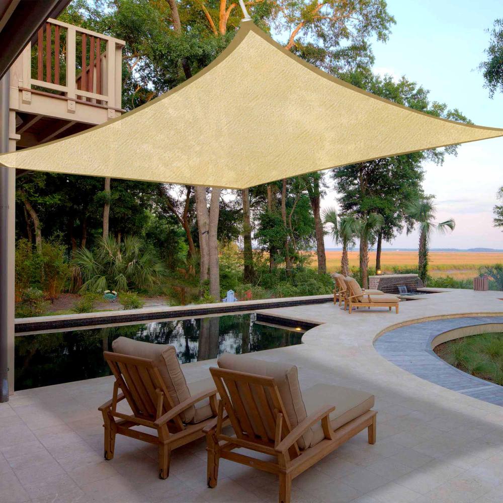 16x16 Square Sun Shade Sail Uv Blocking Outdoor Patio Lawn Garden Canopy Cover Walmart Com In 2020 Shade Sails Patio Shade Sail Patio Shade