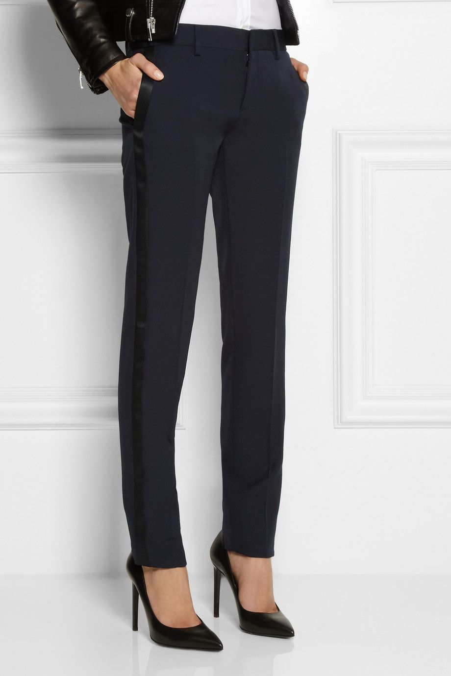 c1bbb2d745a Saint Laurent   Satin-trimmed wool tuxedo pants   NET-A-PORTER.COM ...