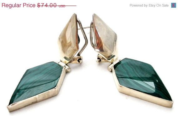 Sterling Silver Malachite Earrings Pierced Vintage  Hand made sterling silver pierced vintage earrings  Awesome modernistic design  Gorgeous
