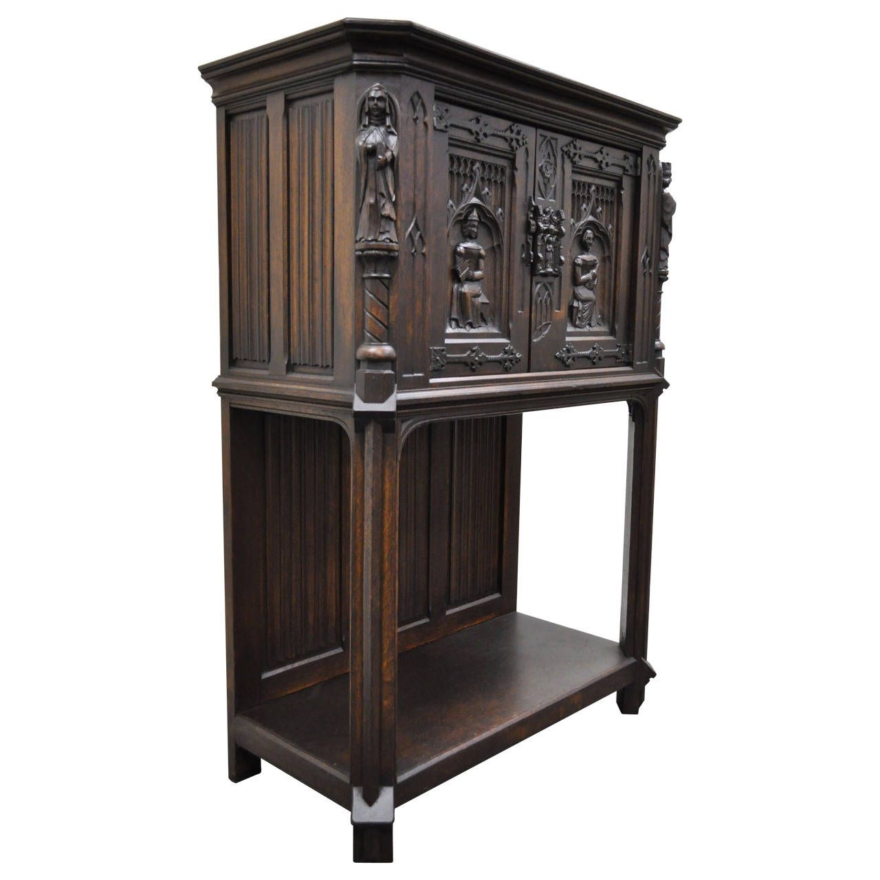 19th Century Belgian Carved Oak Dry Bar Cabinet Flemish Gothic Revival Figural Hand Carved Furniture Baroque Decor Cabinet