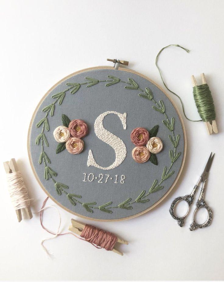 Wedding Embroidery Art – Embroidery Hoop Art – Hand Embroidery – Modern Em…