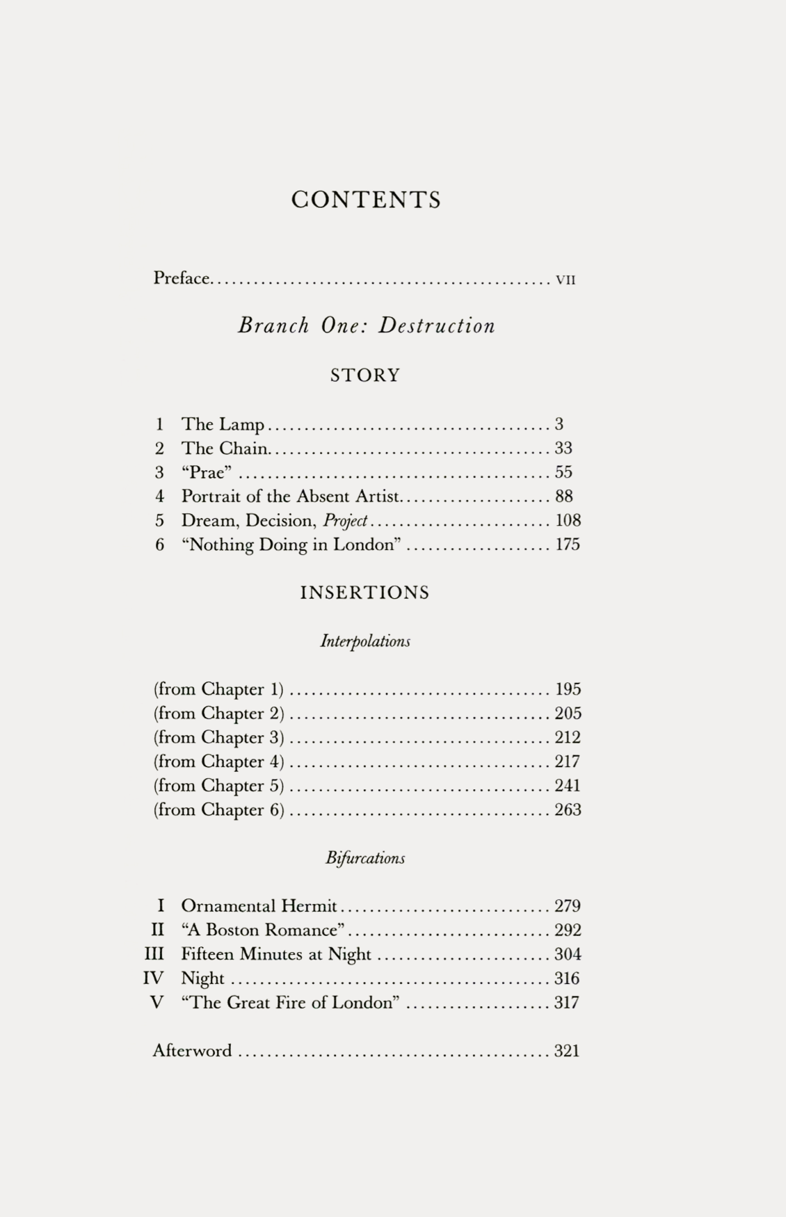 Contents from The Great Fire of London. A Story with Interpolations and Bifurcations, by Jacques Roubaud, Dalkey Archive Press, 2006