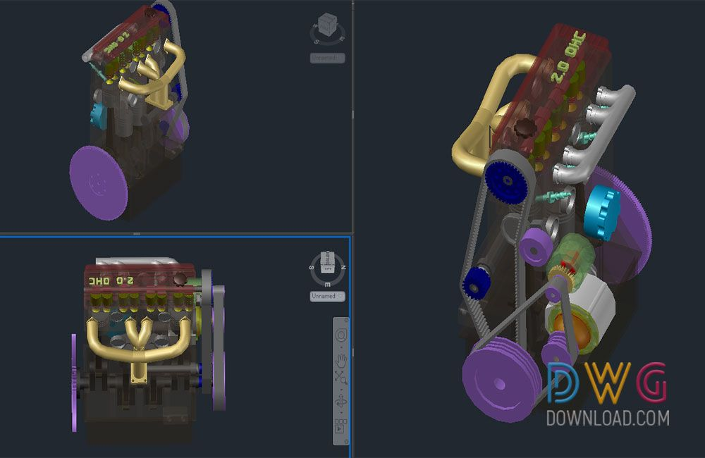Dwg Download Four Stroke Engine Autocad 3D Drawings