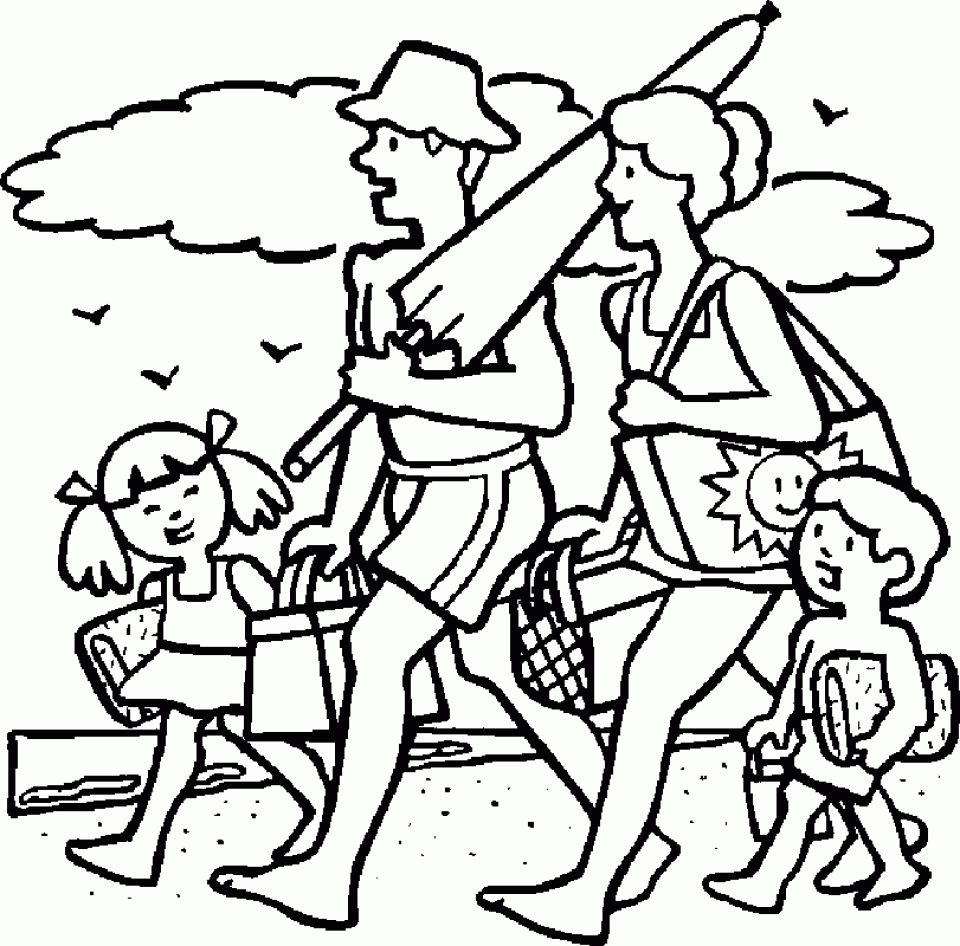 Family on the beach template   Beach Coloring Pages   Pinterest