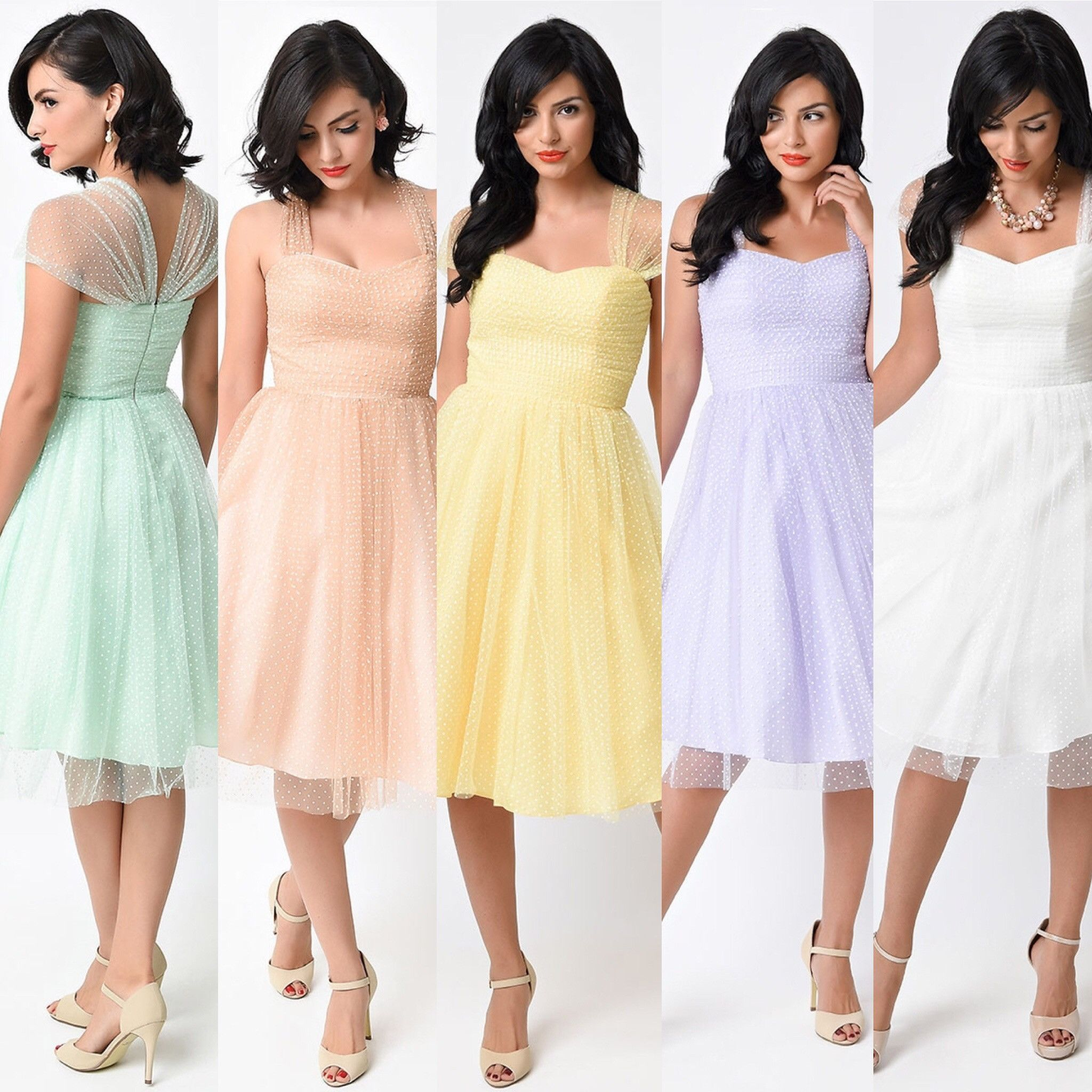 Retro Vintage Cocktail Dress with sheer cap sleeves in pastel ...