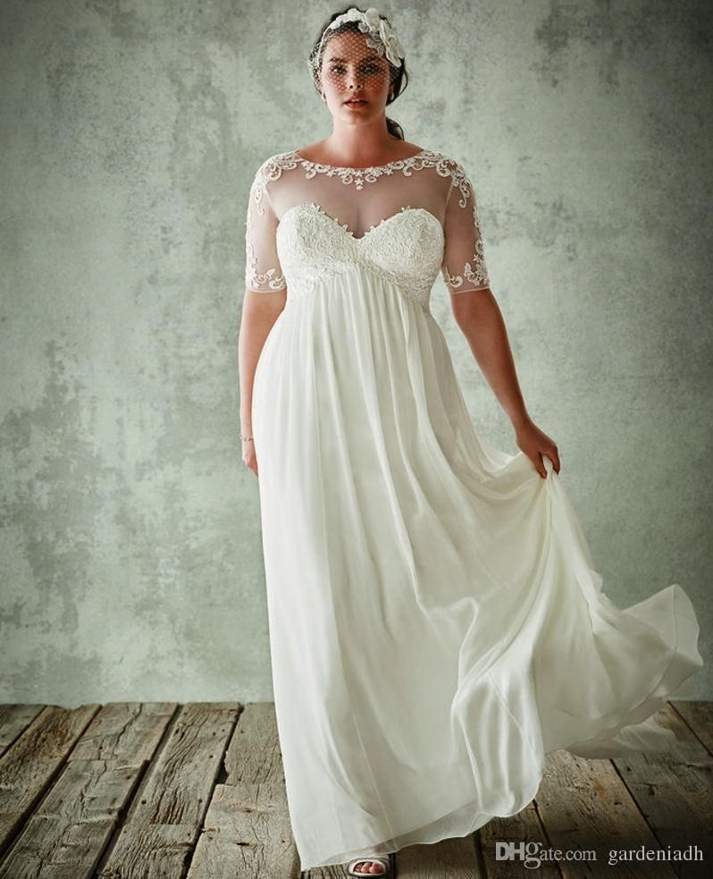 Cheap Plus Size Beach Wedding Dresses With Sleeves Maternity Chiffon ...