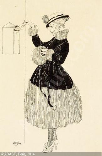 Gerda Wegener Tre tegninger forestillende en kvinde ved postkasse, en kvinde i en rococostol og en danserinde, (3) sold by Bruun Rasmussen, København, on Thursday, April 19, 2007