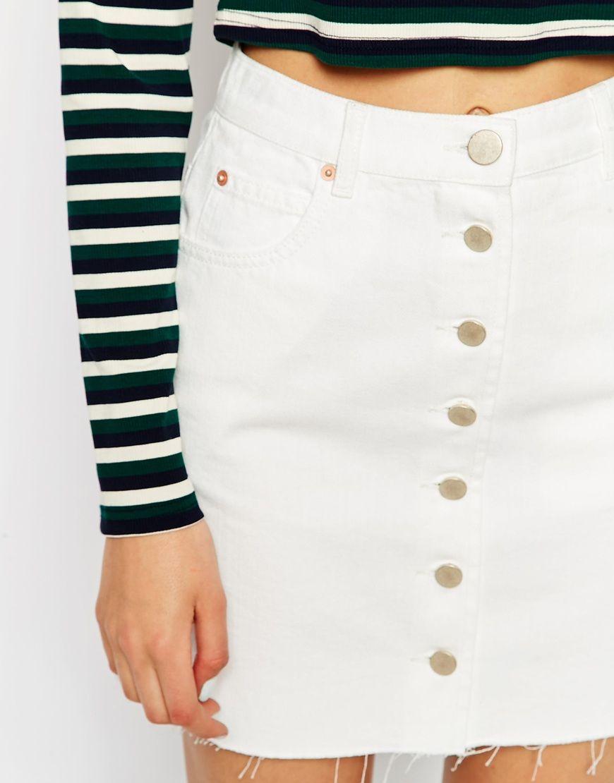 8f9dac85a7 Denim Dolly A-line Button Through Mini Skirt in White with Raw Hem ...