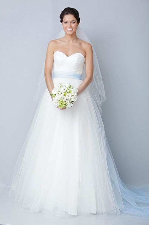 Theia wedding dress with blue sash, Fall 2012. See more #wedding fashion & beauty: http://ccwed.me/KIp6ZC