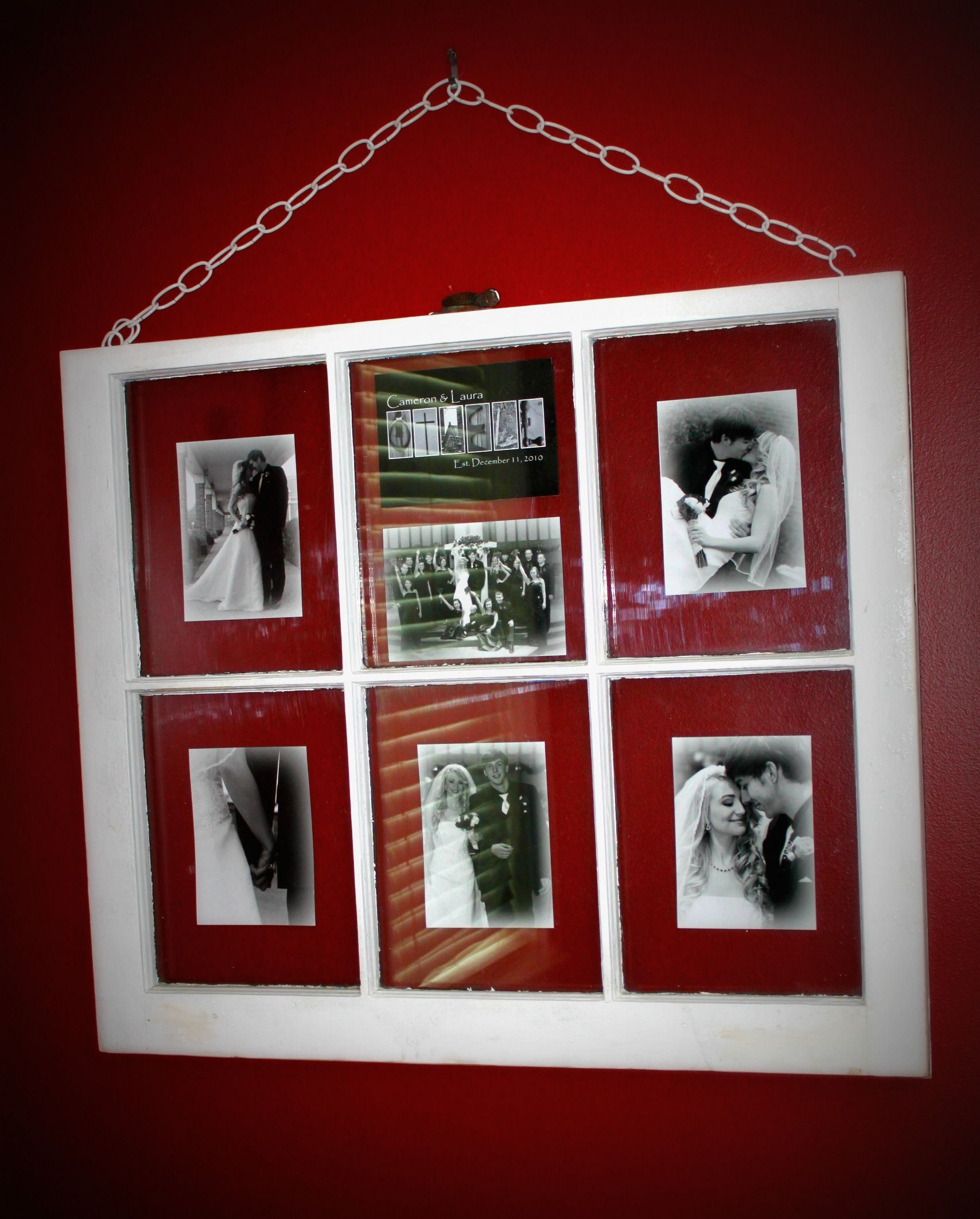 Old window frame with my wedding pictures ! good idea for my old ...