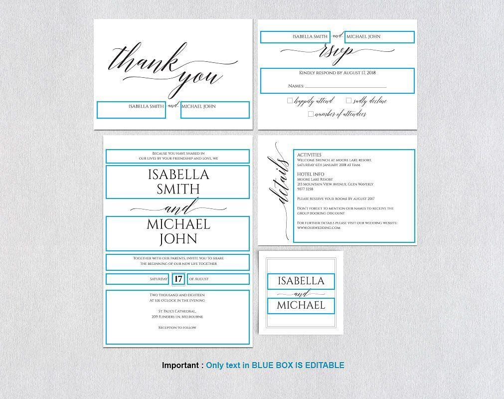 Wedding invitation set Wpc 145 informationtextFEATURES