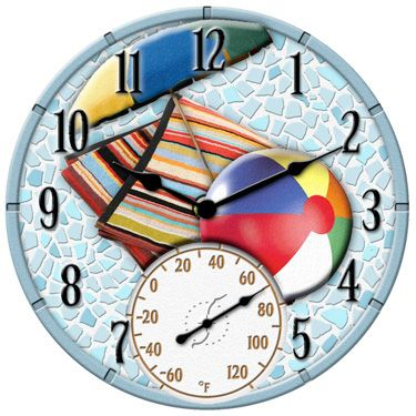 Outdoor Swimming Pool Clocks.Outdoor Clock Thermometer Beach In 2019 Outdoor Clock