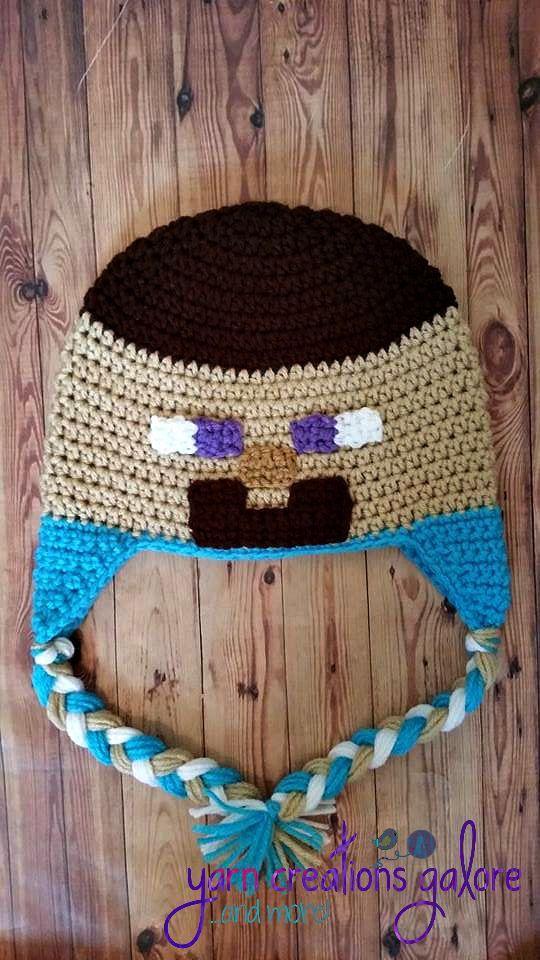 18d1e604ac5f3 Crochet el sombrero de Steve Minecraft