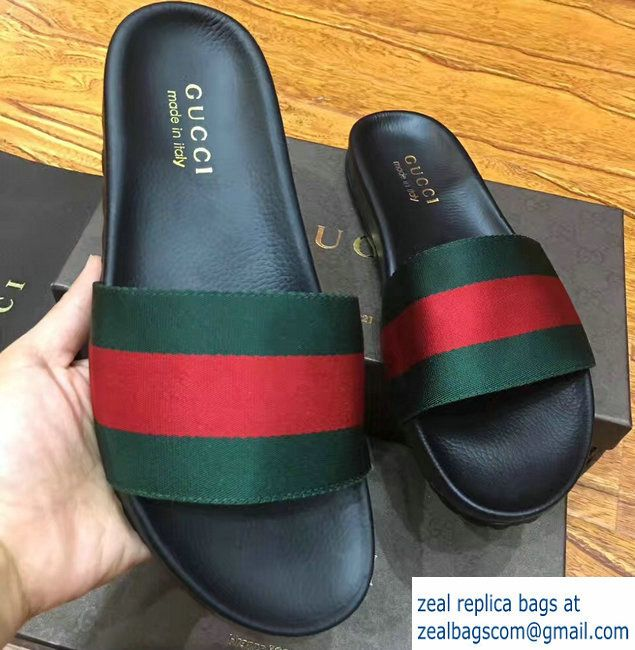34b8cae61 Gucci Men  s Slide Sandals Web Green Red Green 2017 Mens Slide