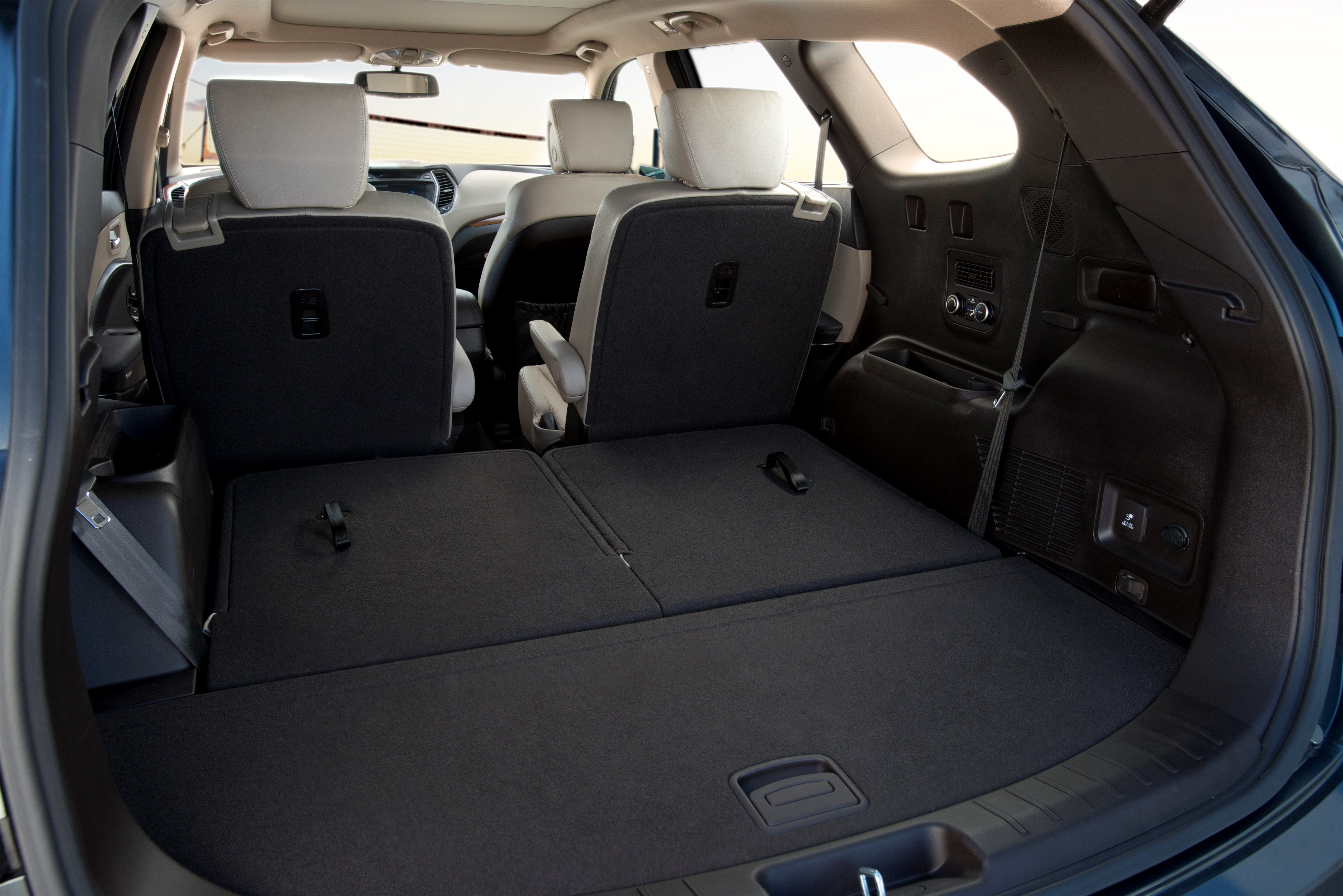 2014 Hyundai Santa Fe 3rd Row Seating Folded Down Shown With Technology Package Options 2014