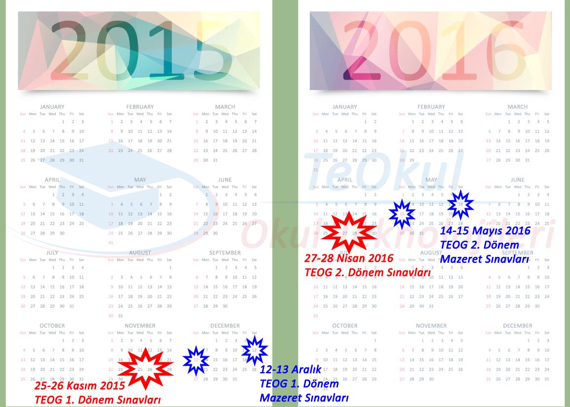 2015-2016 TEOG Takvimi