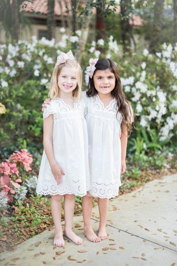 White Eyelet Flower Girl Dress Cap Sleeve Flower Girl Dress Cotton