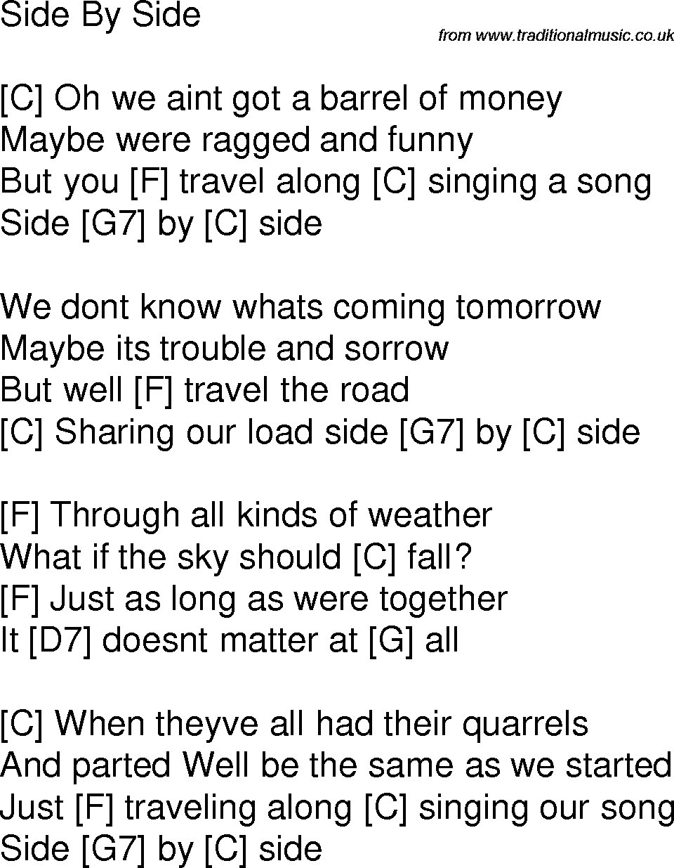 Old Time Song Lyrics With Chords For Side By Side C Mother