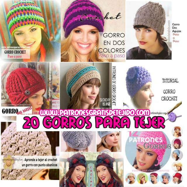 20 patrones y tutoriales de gorros tejidos para mujeres | Crochet y ...