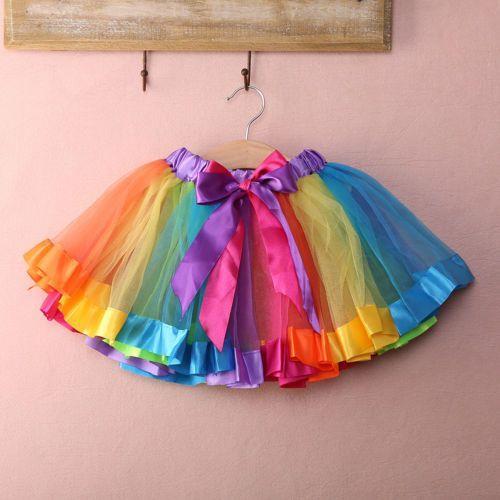 Kids Baby Girls Rainbow Princess Party Ballet Dancewear Tulle Tutu Skirt Dress