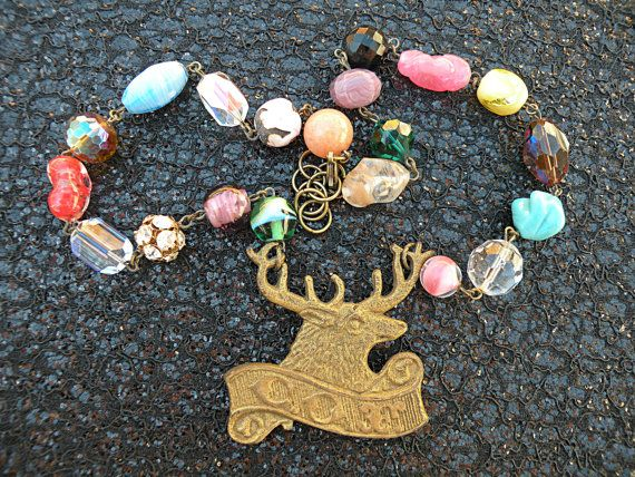 ELK medal necklace assemblage stag upcycle by lilyofthevally