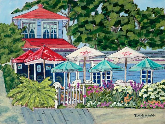 """Summer Day At The Summertime"" reproduction print of an acrylic painting by Barb Timmerman."