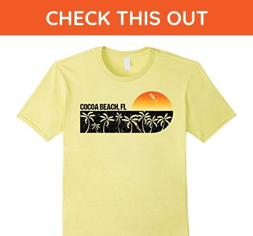 Mens Retro Cocoa Beach Florida Vintage Sunset T Shirt Medium Lemon Shirts