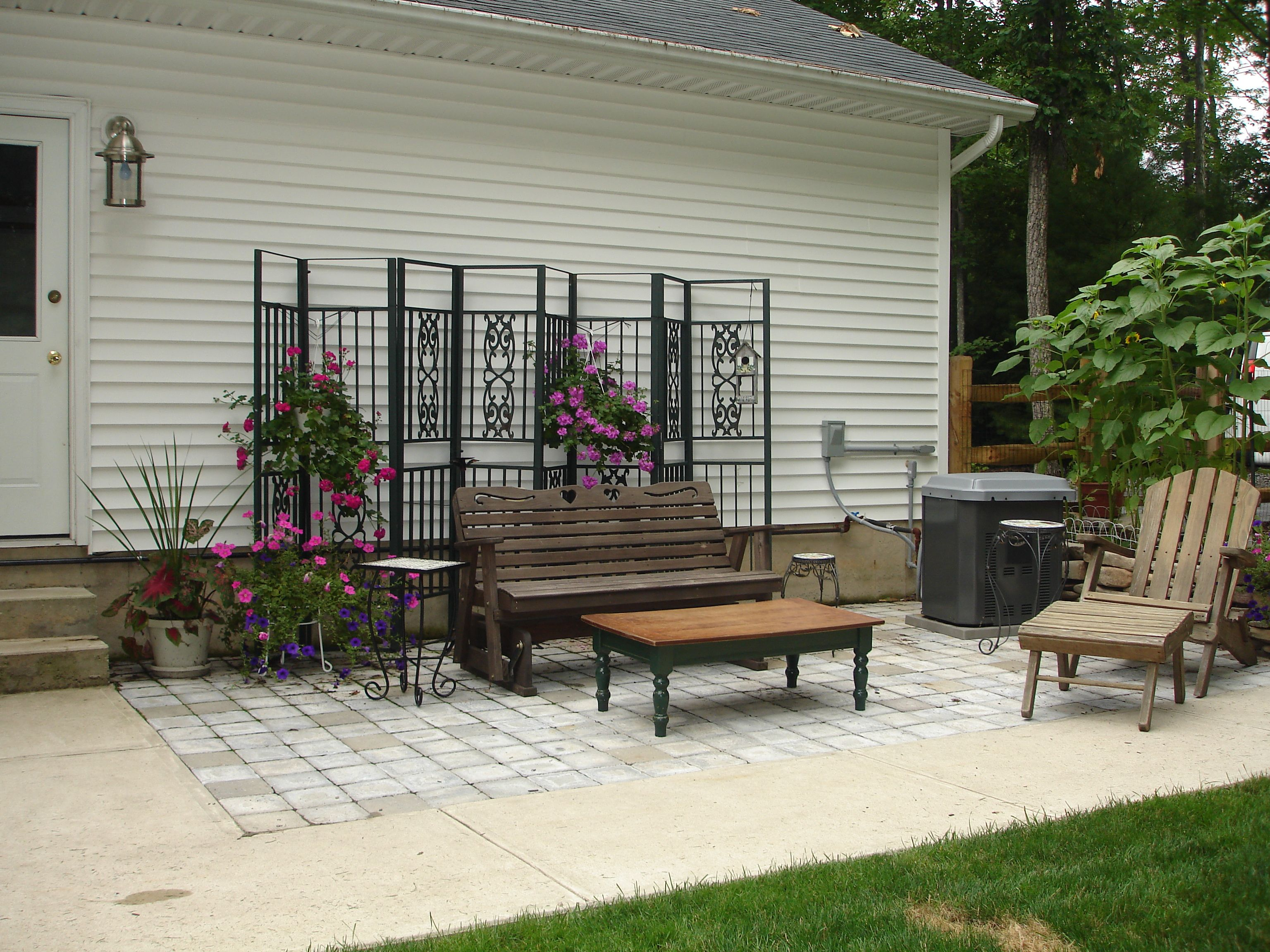 Sitting Area Made From Recycled Gazebo Frame And Patio Blocks Off Craigslist