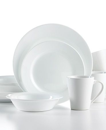 Corelle Dinnerware Shimmering White Round 16 Piece Set Casual Dining Entertaining Macy S Bridal And Wedding Registry