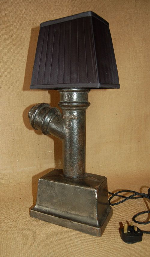 Upcycled Quirky Cast Iron Gutter Lamp Lamp Novelty Lamp Factory Lighting