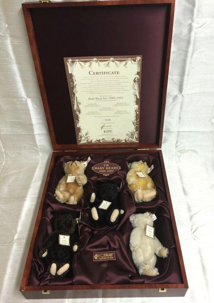 STEIFF TEDDY BABY BEAR SET 1989-1993 - 5 BEARS - 654497 Limited Ed 1604/1847