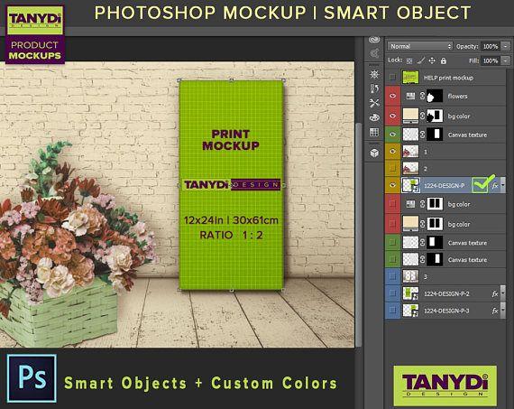4d7d2812c754 12x24 Canvas Photoshop Print Mockup CF4 4 PNG Scenes Set