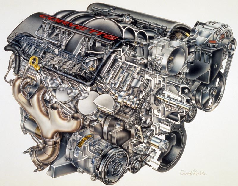 LS1 Engine, Cutaway view, fits 9802 Camaros and 9704