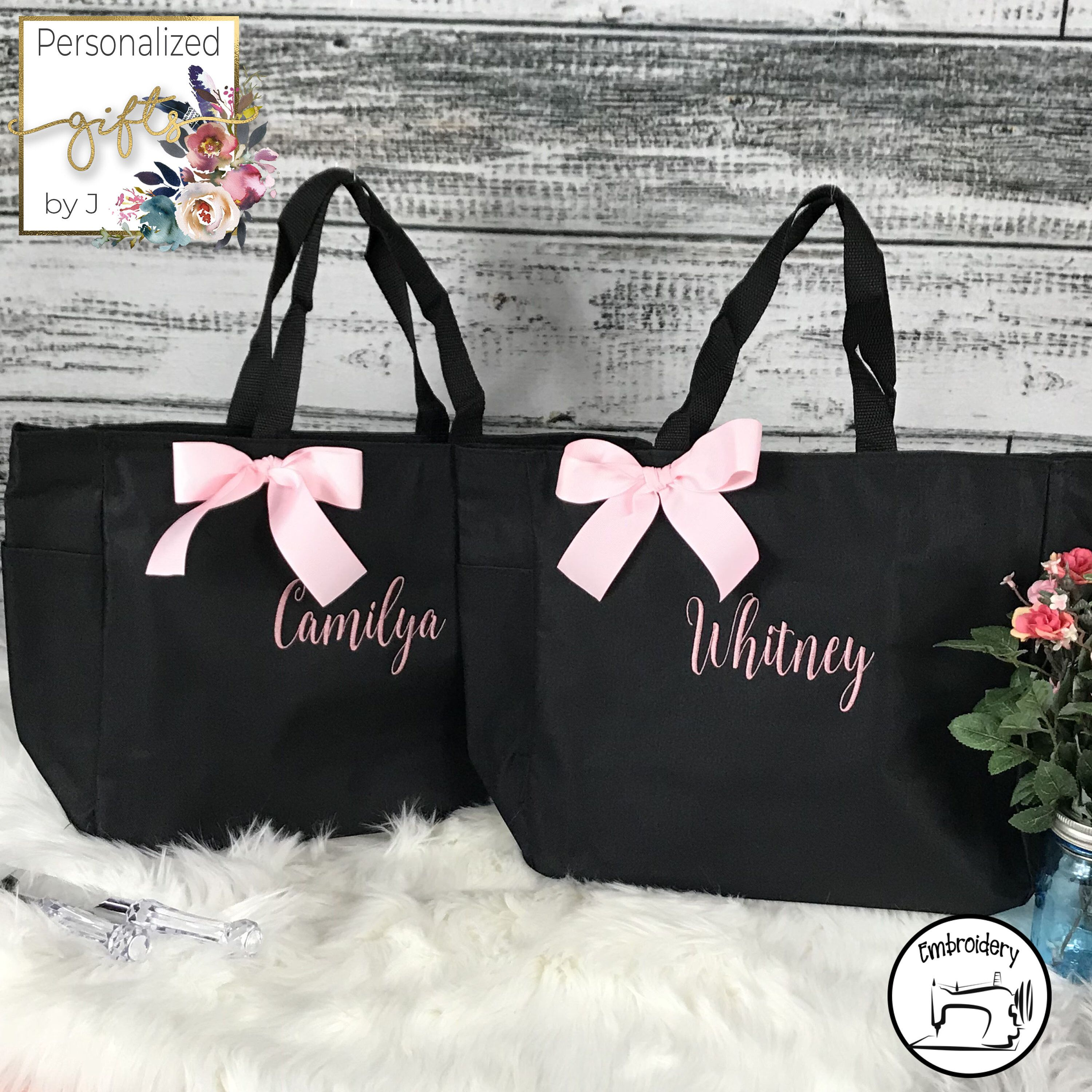 5 Personalized Tote Bag Bridesmaid Gift Cheer Dance Monogrammed Embroidered