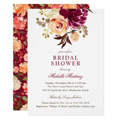 Burgundy Maroon Watercolor Floral Bridal Shower Card Bridal - bridal shower invites templates