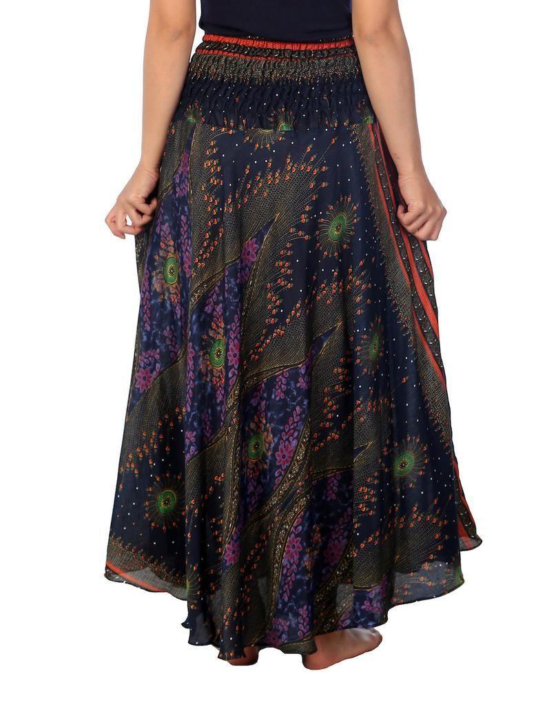 Women's Long Dark Blue Maxi Skirt Bohemian Gypsy Hippie | Etsy | summer outfits women