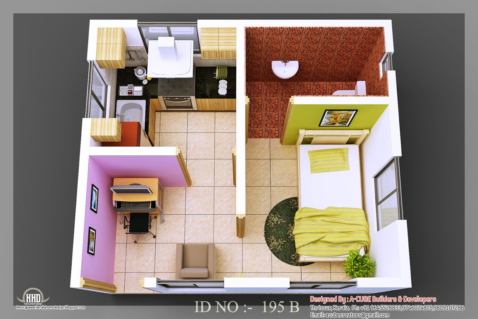 isometric views small house plans kerala home design floor information isometric small house plans - Design For Small House