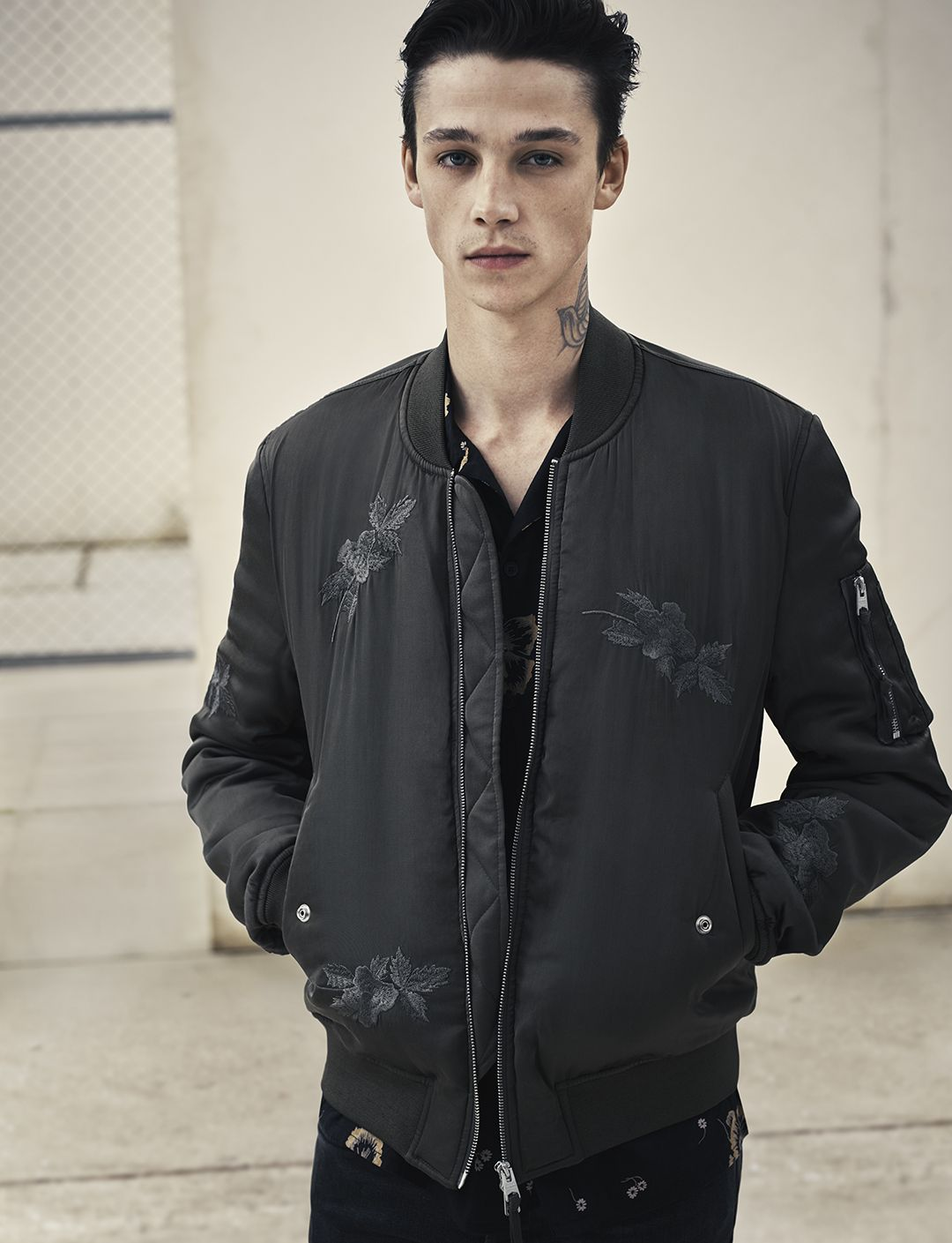 AllSaints Men's March Lookbook Look 2: The Kyushu Jacket, Sumire Ss Shirt #Marchlookbook